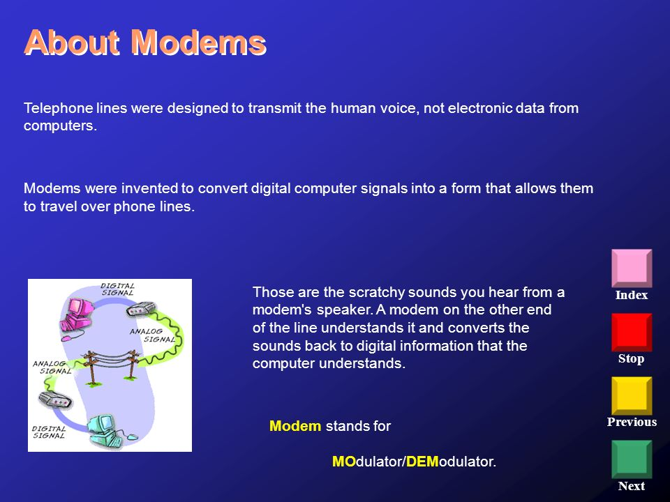 Stop Previous Next Index Telephone lines were designed to transmit the human voice, not electronic data from computers. Modems were invented to conver