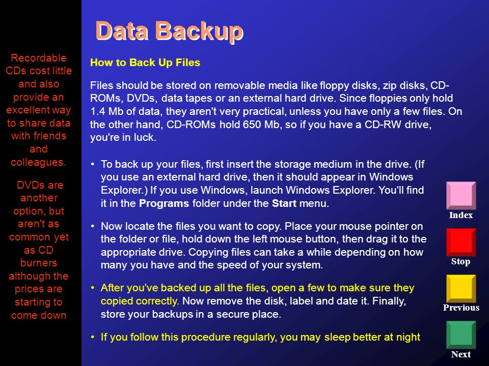 Stop Previous Next Index To back up your files, first insert the storage medium in the drive. (If you use an external hard drive, then it should appea