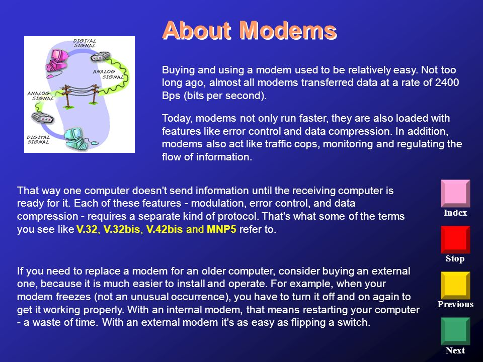 Stop Previous Next Index Buying and using a modem used to be relatively easy. Not too long ago, almost all modems transferred data at a rate of 2400 B