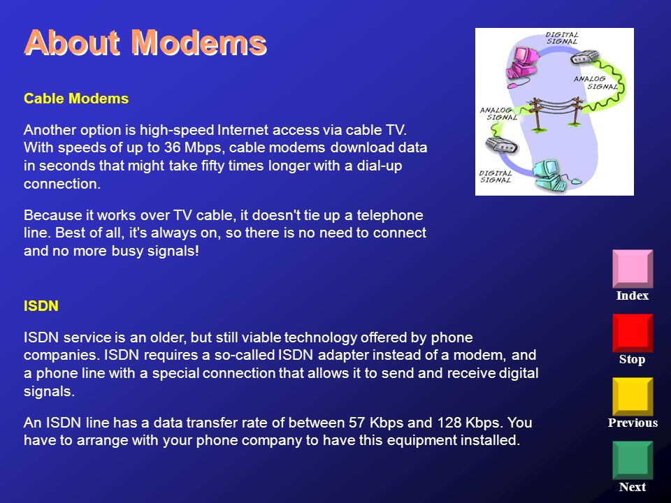 Stop Previous Next Index Cable Modems Another option is high-speed Internet access via cable TV. With speeds of up to 36 Mbps, cable modems download d