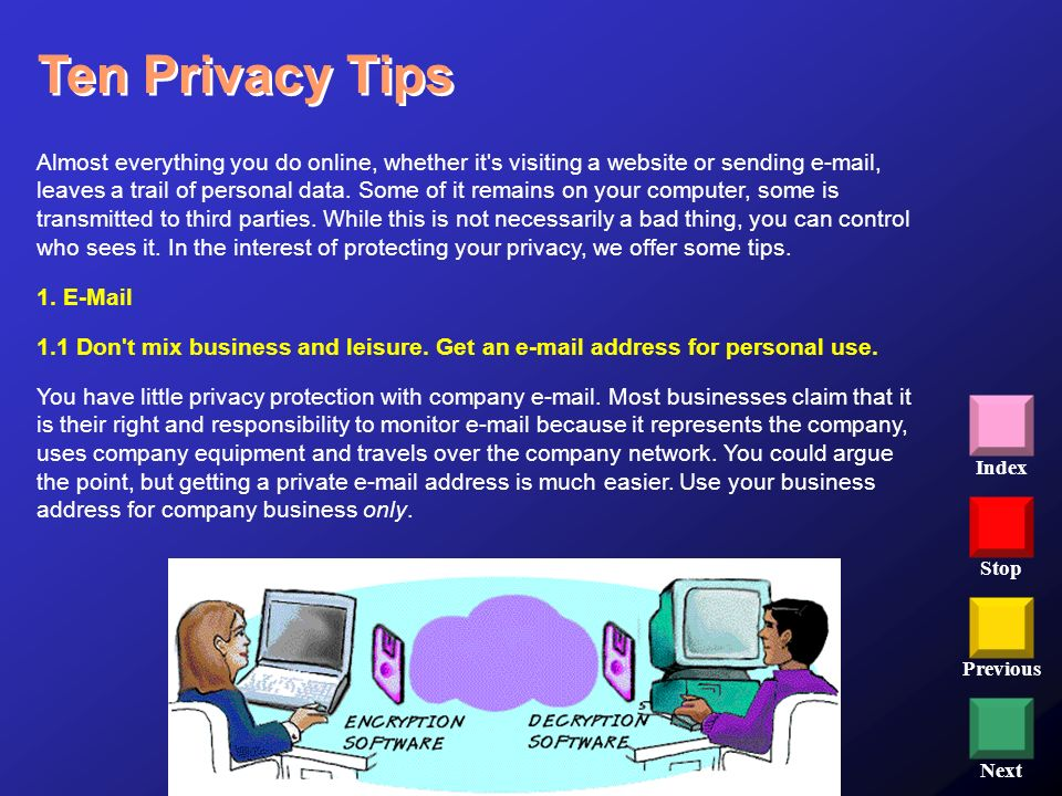 Stop Previous Next Index Ten Privacy Tips Almost everything you do online, whether it's visiting a website or sending e-mail, leaves a trail of person