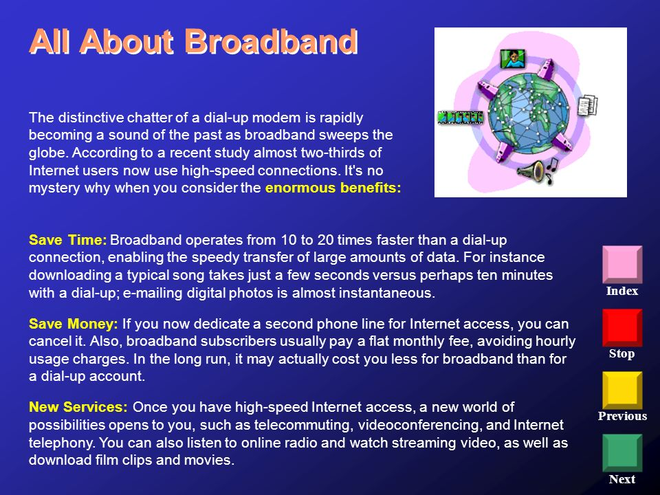 Stop Previous Next Index All About Broadband The distinctive chatter of a dial-up modem is rapidly becoming a sound of the past as broadband sweeps th