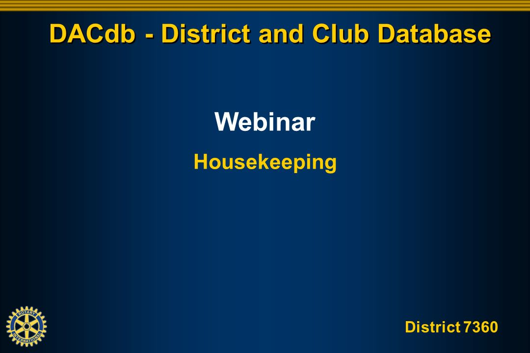 District 7360 DACdb - District and Club Database
