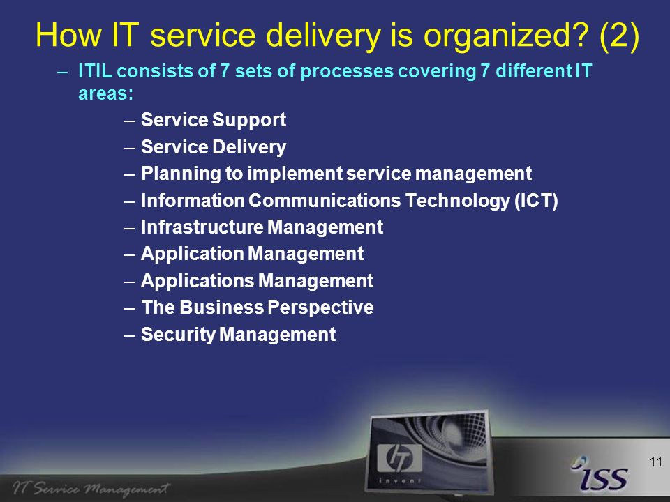 12 How IT service delivery is organized? (3) –ITIL Overview