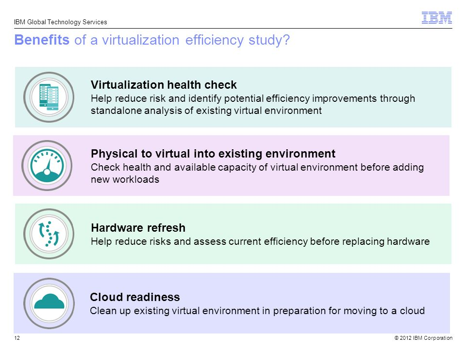 © 2012 IBM Corporation IBM Global Technology Services Benefits of a virtualization efficiency study.