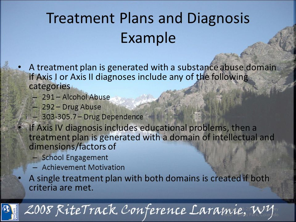 October 23-25 – The Stanley Hotel – Estes Park, Colorado Treatment Plans and Diagnosis Example A treatment plan is generated with a substance abuse do