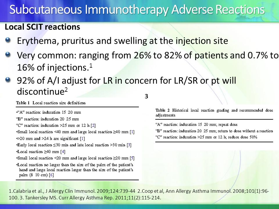 Subcutaneous Immunotherapy Adverse Reactions Local SCIT reactions Erythema, pruritus and swelling at the injection site Very common: ranging from 26%