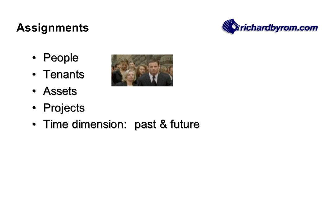 People Tenants Assets Projects Time dimension: past & future People Tenants Assets Projects Time dimension: past & future Assignments