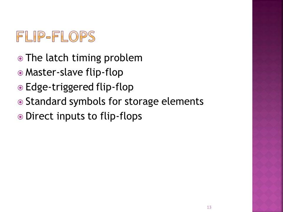 The latch timing problem Master-slave flip-flop Edge-triggered flip-flop Standard symbols for storage elements Direct inputs to flip-flops 13