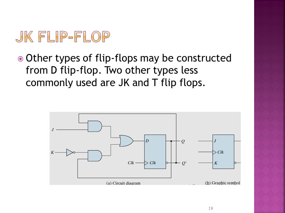Other types of flip-flops may be constructed from D flip-flop. Two other types less commonly used are JK and T flip flops. 19