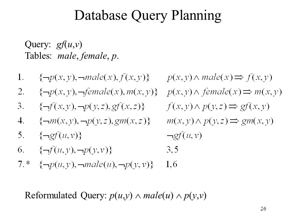 26 Database Query Planning Query: gf(u,v) Tables: male, female, p.