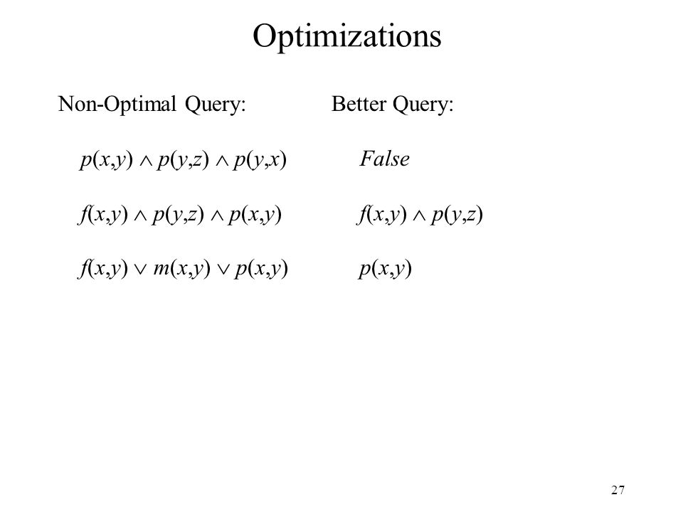 27 Optimizations Non-Optimal Query:Better Query: p(x,y) p(y,z) p(y,x) False f(x,y) p(y,z) p(x,y) f(x,y) p(y,z) f(x,y) m(x,y) p(x,y) p(x,y)