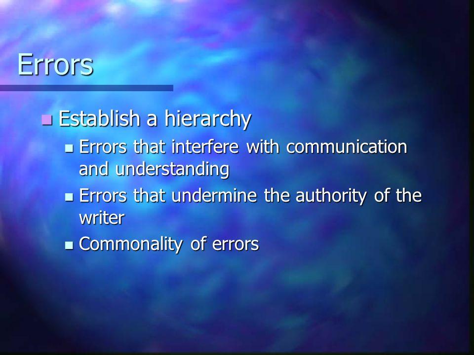 Errors Establish a hierarchy Establish a hierarchy Errors that interfere with communication and understanding Errors that interfere with communication