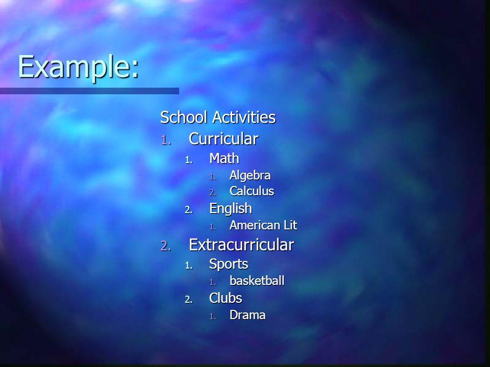 Example: School Activities 1. Curricular 1. Math 1. Algebra 2. Calculus 2. English 1. American Lit 2. Extracurricular 1. Sports 1. basketball 2. Clubs