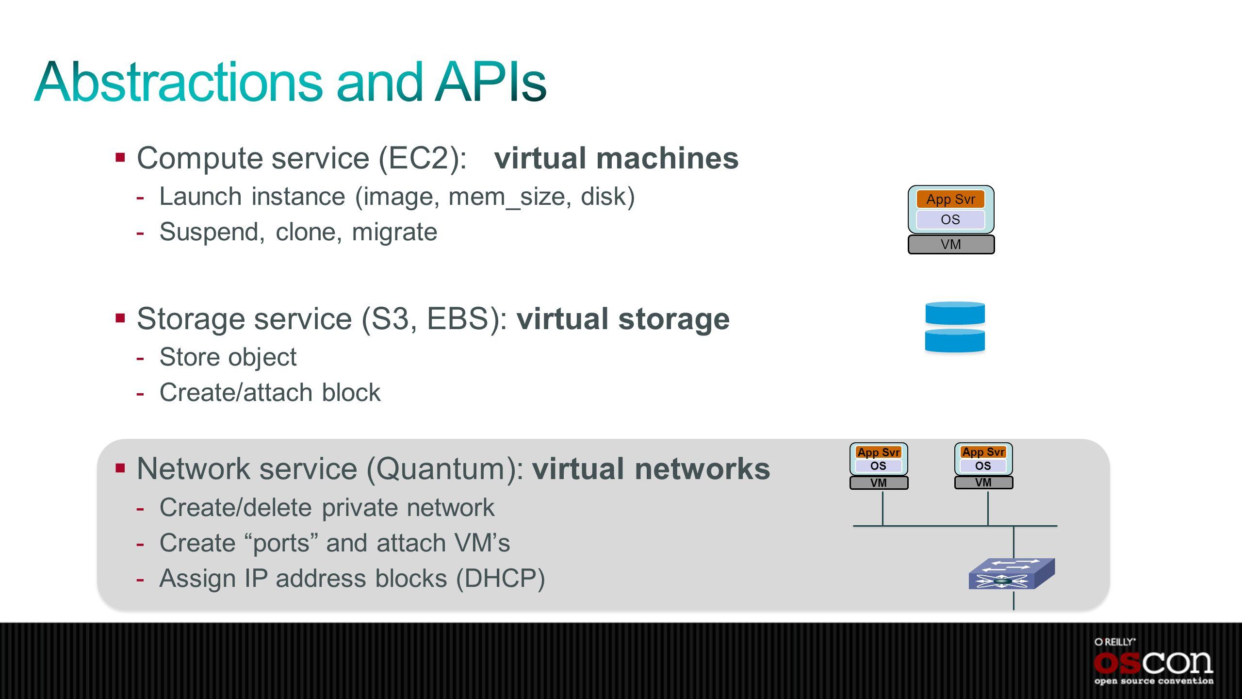 Compute service (EC2): virtual machines -Launch instance (image, mem_size, disk) -Suspend, clone, migrate Storage service (S3, EBS): virtual storage -