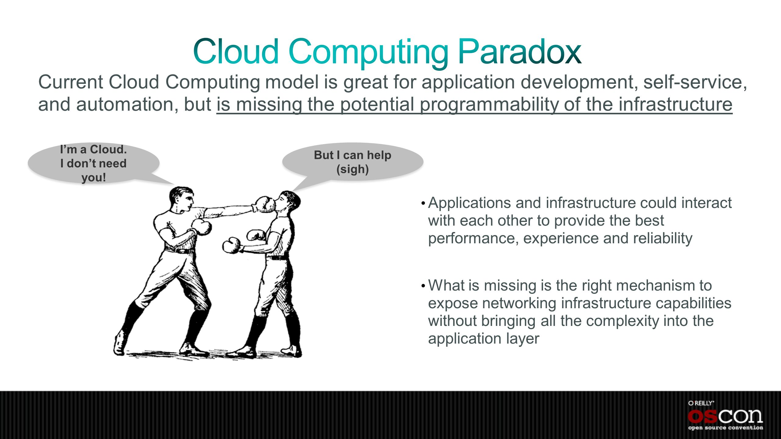 Current Cloud Computing model is great for application development, self-service, and automation, but is missing the potential programmability of the