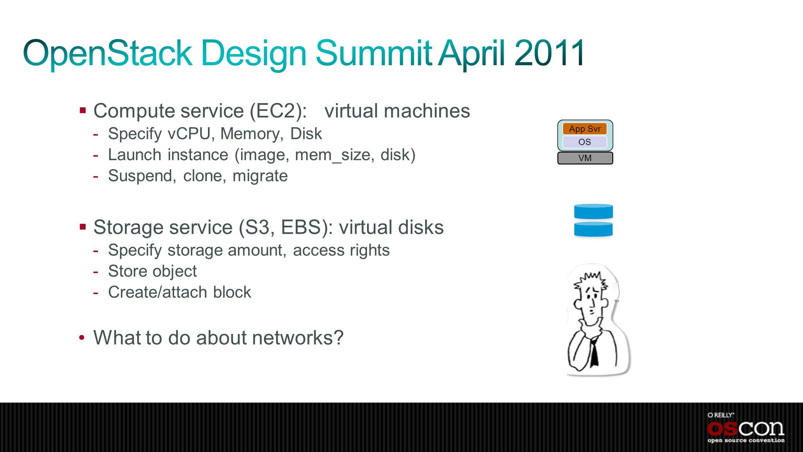 Compute service (EC2): virtual machines -Specify vCPU, Memory, Disk -Launch instance (image, mem_size, disk) -Suspend, clone, migrate Storage service