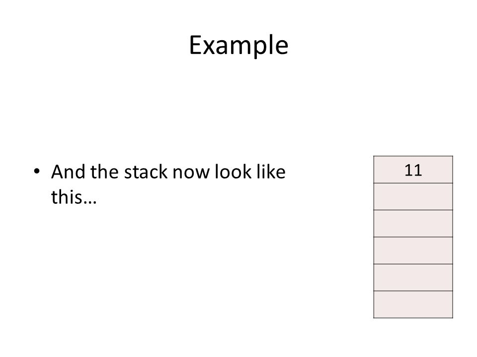 Example And the stack now look like this… 11