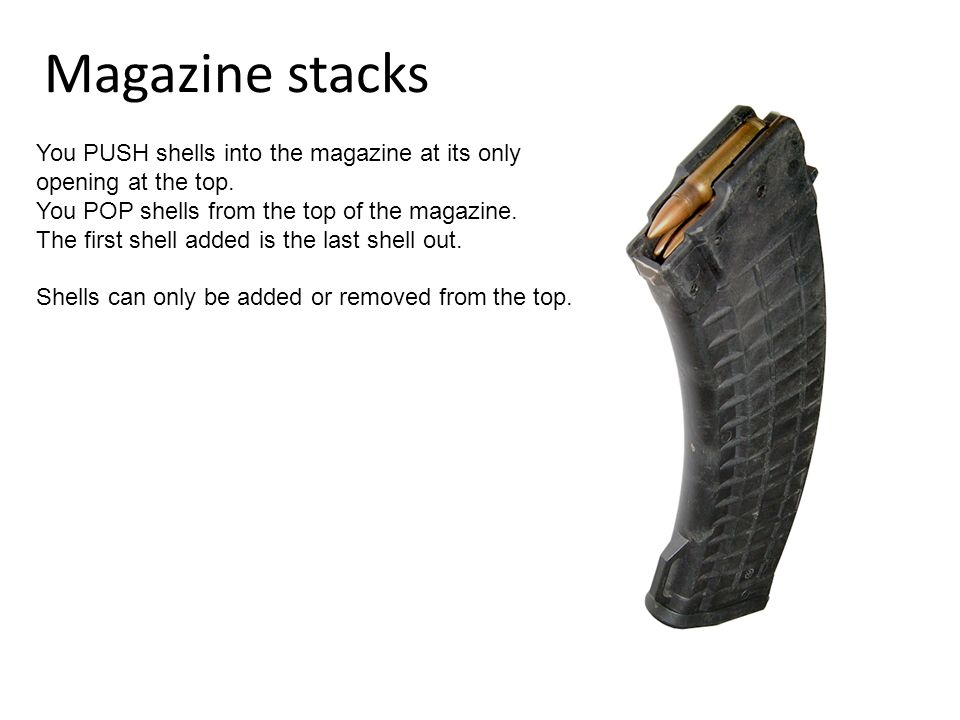 Magazine stacks You PUSH shells into the magazine at its only opening at the top.