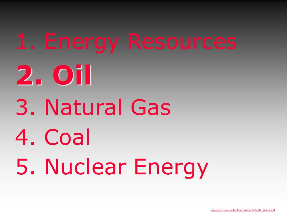1. Energy Resources 2. Oil 3. Natural Gas 4. Coal 5. Nuclear Energy www.bio.miami.edu/beck/esc101/Chapter14&15.ppt