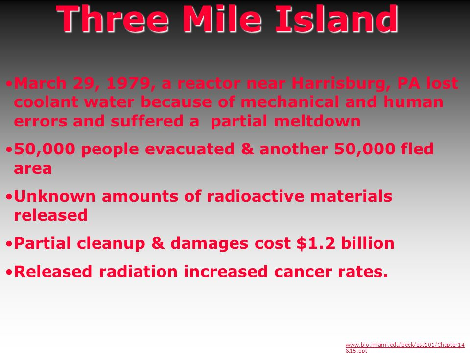 Three Mile Island March 29, 1979, a reactor near Harrisburg, PA lost coolant water because of mechanical and human errors and suffered a partial meltd