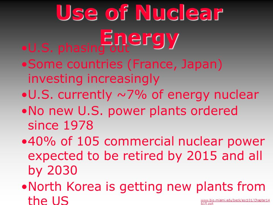 Use of Nuclear Energy U.S. phasing out Some countries (France, Japan) investing increasingly U.S. currently ~7% of energy nuclear No new U.S. power pl