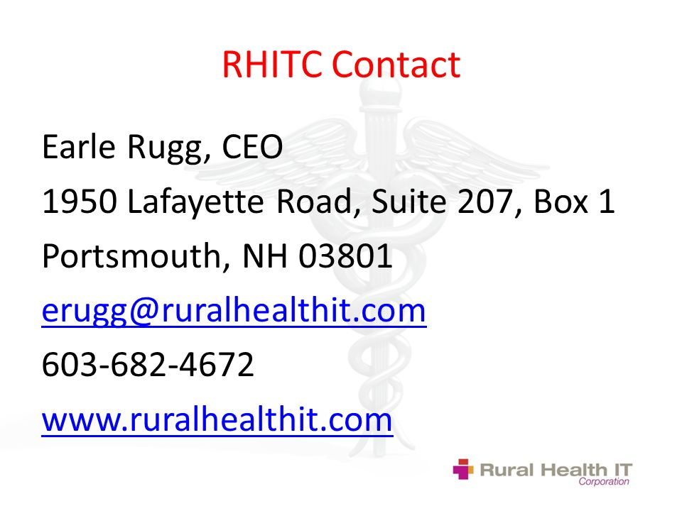 RHITC Contact Earle Rugg, CEO 1950 Lafayette Road, Suite 207, Box 1 Portsmouth, NH