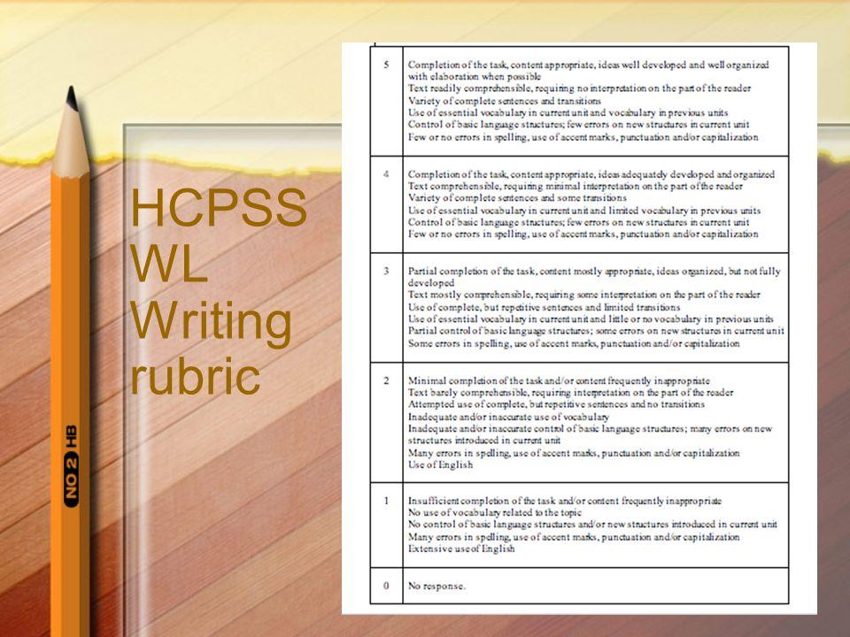 HCPSS WL Writing rubric