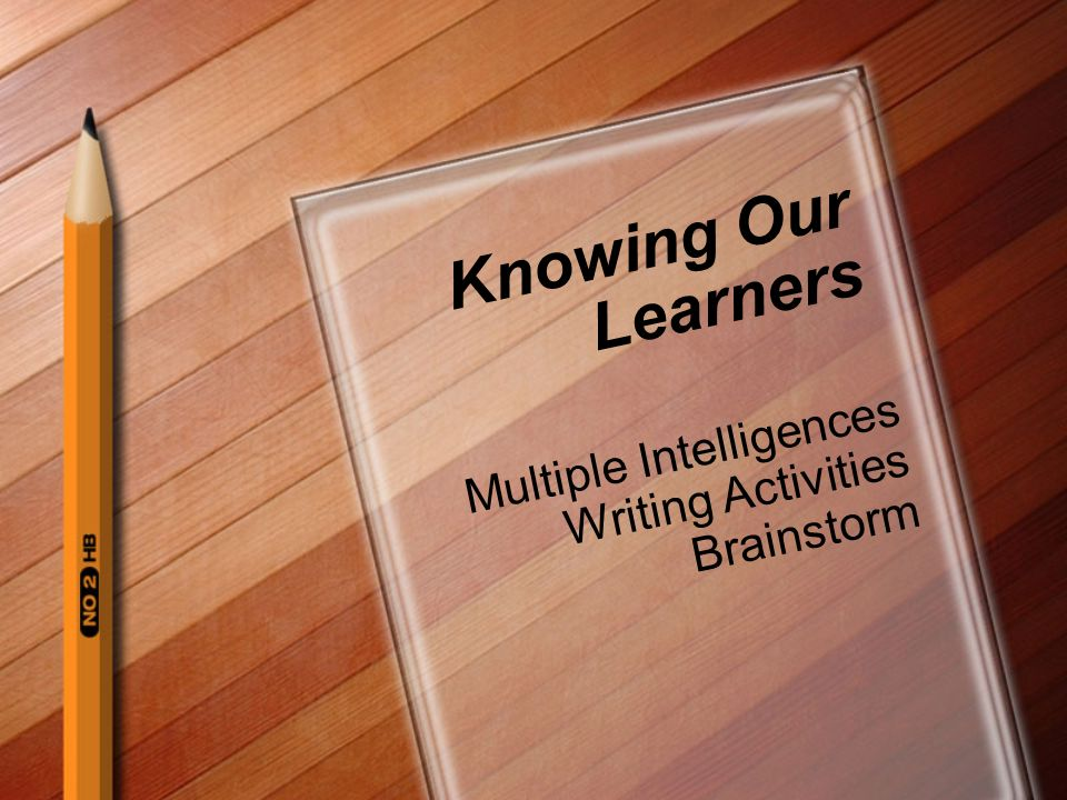 Knowing Our Learners Multiple Intelligences Writing Activities Brainstorm