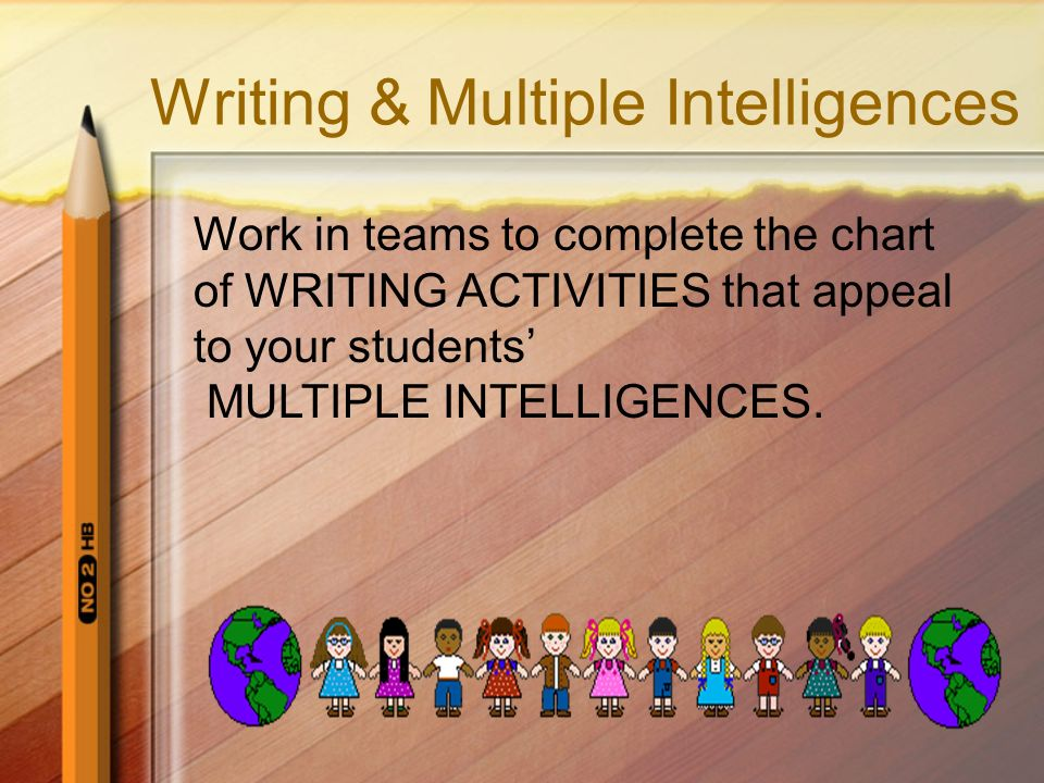 Writing & Multiple Intelligences Work in teams to complete the chart of WRITING ACTIVITIES that appeal to your students MULTIPLE INTELLIGENCES.