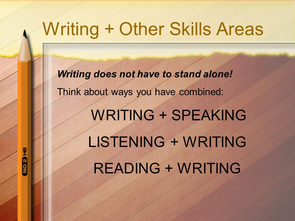 Writing + Other Skills Areas Writing does not have to stand alone! Think about ways you have combined: WRITING + SPEAKING LISTENING + WRITING READING