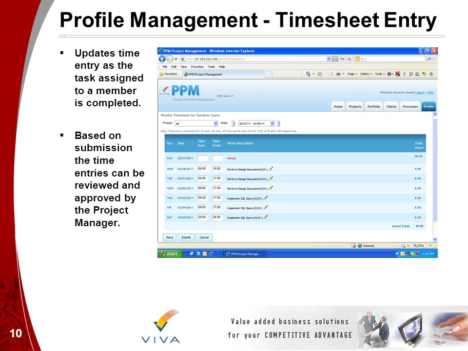 Profile Management - Timesheet Entry Updates time entry as the task assigned to a member is completed. Based on submission the time entries can be rev
