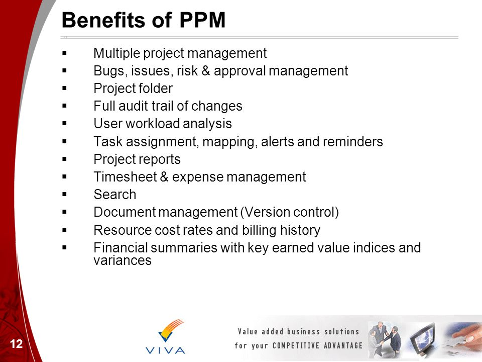 12 Benefits of PPM Multiple project management Bugs, issues, risk & approval management Project folder Full audit trail of changes User workload analy