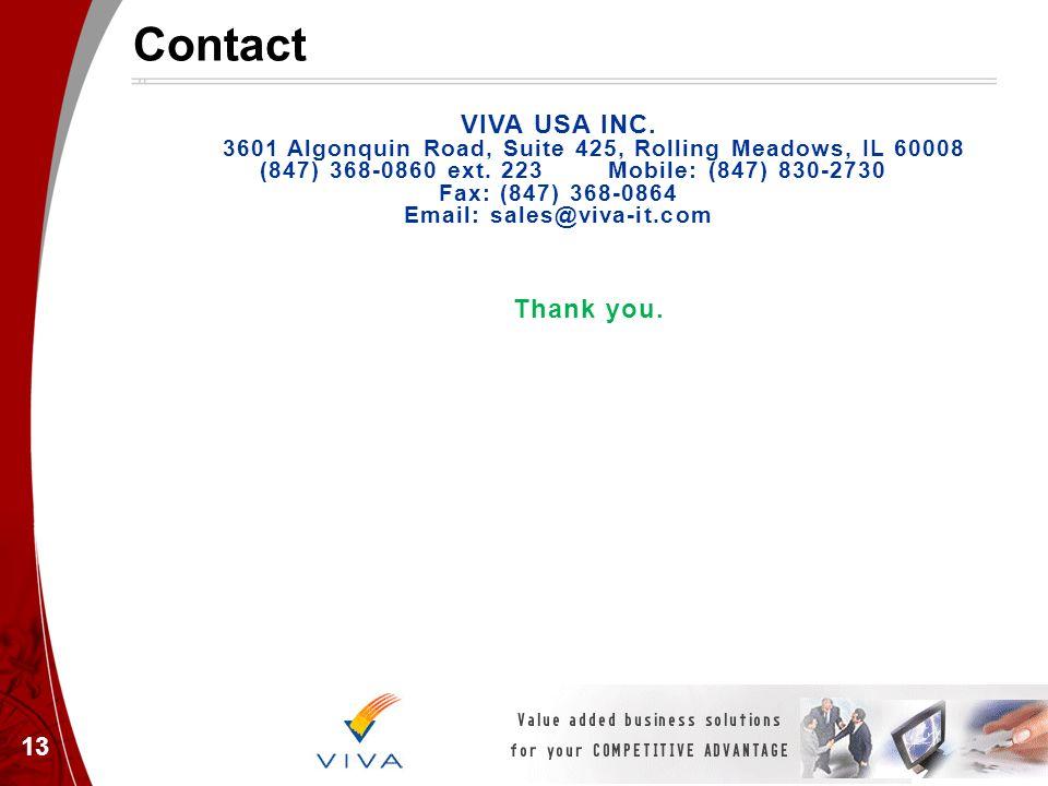 Contact 13 VIVA USA INC. 3601 Algonquin Road, Suite 425, Rolling Meadows, IL 60008 (847) 368-0860 ext. 223 Mobile: (847) 830-2730 Fax: (847) 368-0864