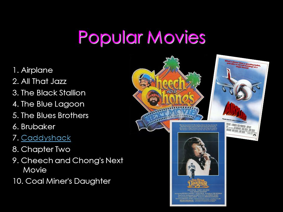Popular Movies 1. Airplane 2. All That Jazz 3. The Black Stallion 4.