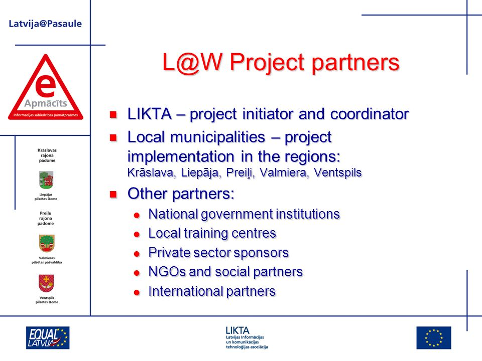 Project partners LIKTA – project initiator and coordinator LIKTA – project initiator and coordinator Local municipalities – project implementation in the regions: Krāslava, Liepāja, Preiļi, Valmiera, Ventspils Local municipalities – project implementation in the regions: Krāslava, Liepāja, Preiļi, Valmiera, Ventspils Other partners: Other partners: National government institutions National government institutions Local training centres Local training centres Private sector sponsors Private sector sponsors NGOs and social partners NGOs and social partners International partners International partners