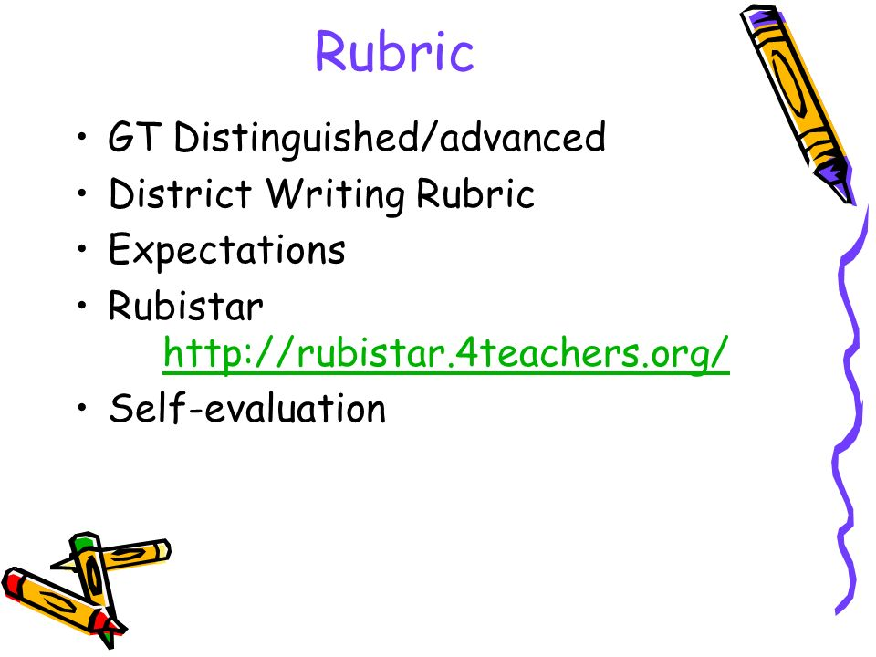 Rubric GT Distinguished/advanced District Writing Rubric Expectations Rubistar http://rubistar.4teachers.org/ http://rubistar.4teachers.org/ Self-evaluation