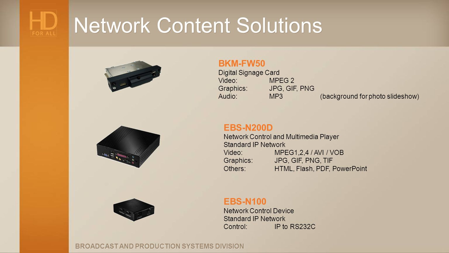 BROADCAST AND PRODUCTION SYSTEMS DIVISION Network Content Solutions BKM-FW50 Digital Signage Card Video: MPEG 2 Graphics: JPG, GIF, PNG Audio:MP3(back