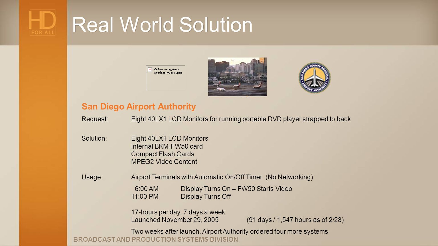 BROADCAST AND PRODUCTION SYSTEMS DIVISION Real World Solution San Diego Airport Authority Request:Eight 40LX1 LCD Monitors for running portable DVD pl