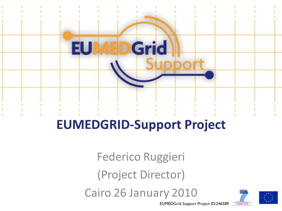 EUMEDGRID-Support Project Federico Ruggieri (Project Director) Cairo 26 January 2010