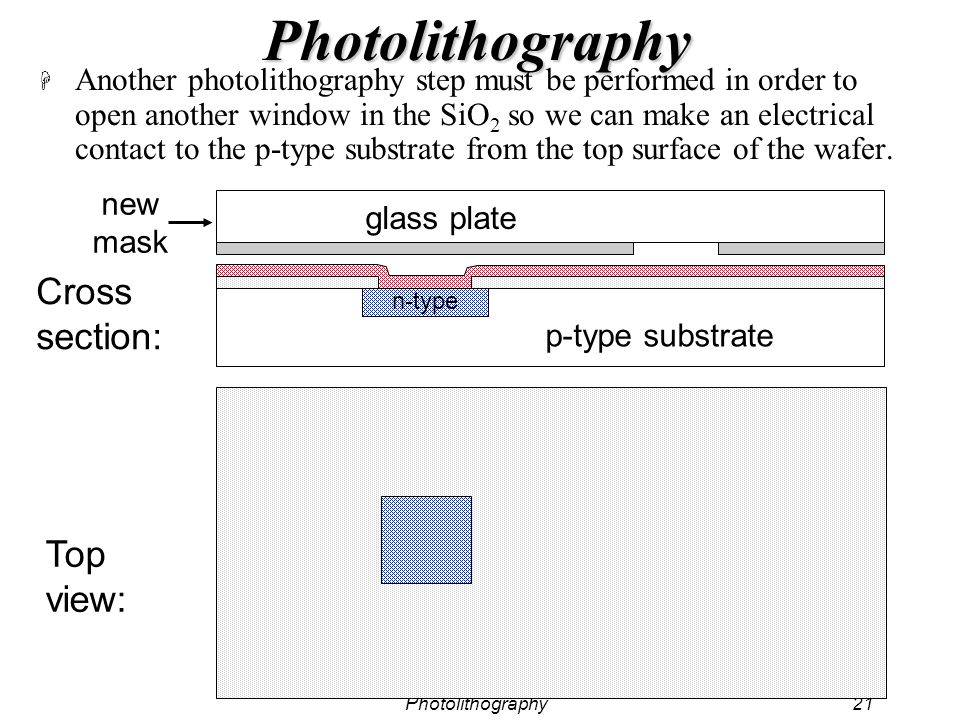Photolithography21 Photolithography H Another photolithography step must be performed in order to open another window in the SiO 2 so we can make an e