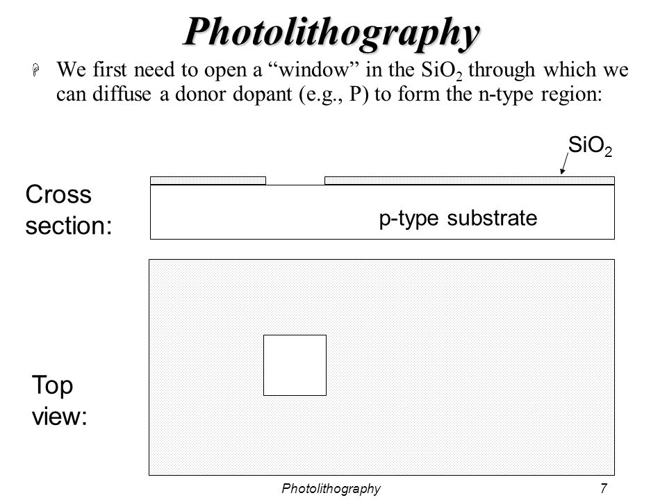 Photolithography7 Photolithography H We first need to open a window in the SiO 2 through which we can diffuse a donor dopant (e.g., P) to form the n-t