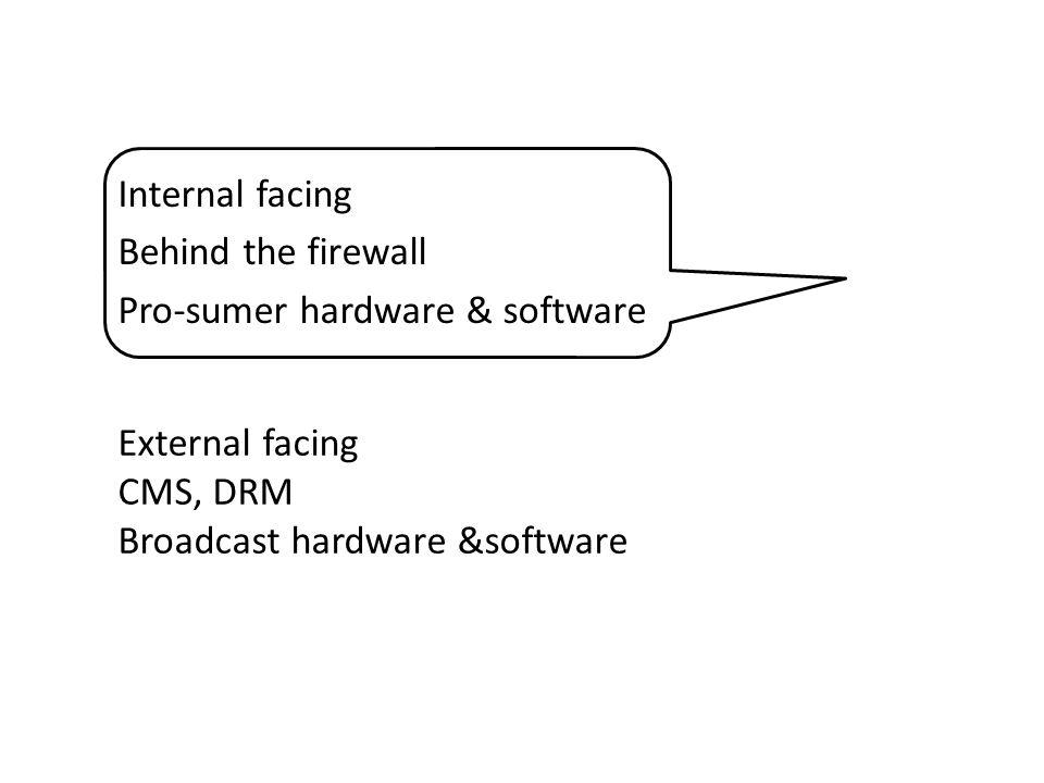 Internal facing Behind the firewall Pro-sumer hardware & software External facing CMS, DRM Broadcast hardware &software