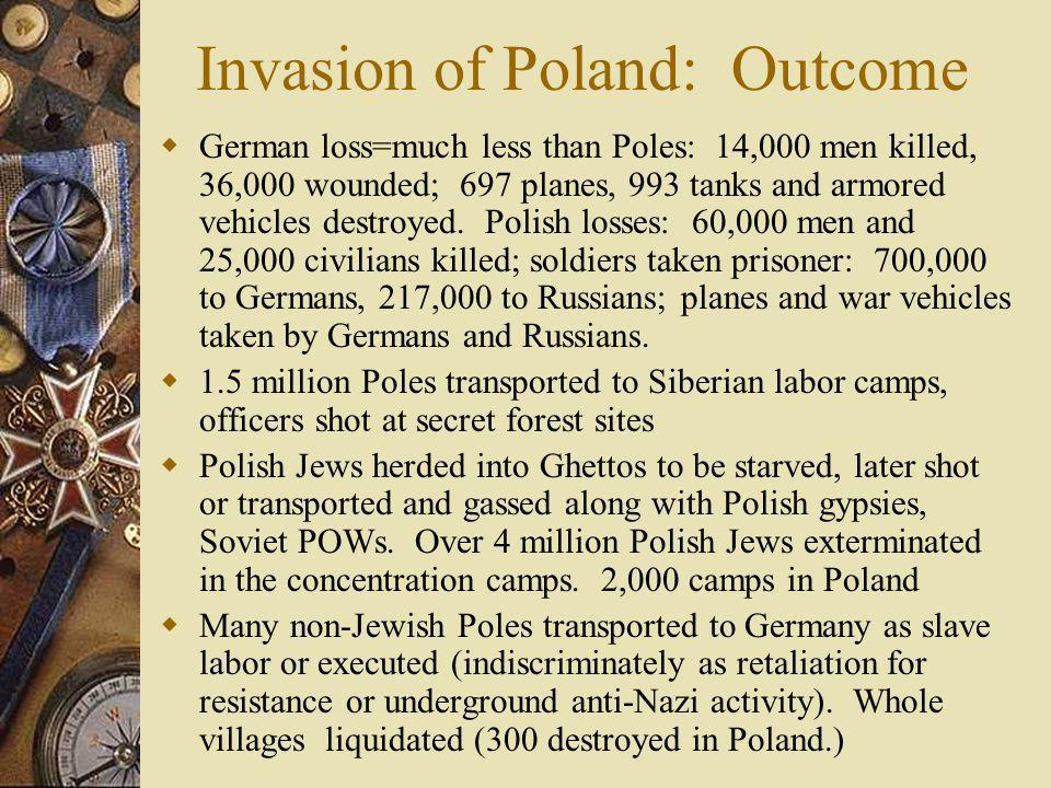 Invasion of Poland: Outcome German loss=much less than Poles: 14,000 men killed, 36,000 wounded; 697 planes, 993 tanks and armored vehicles destroyed.