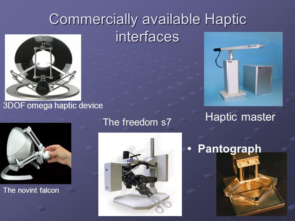 Commercially available Haptic interfaces 3DOF omega haptic device The novint falcon Haptic master The freedom s7 Pantograph