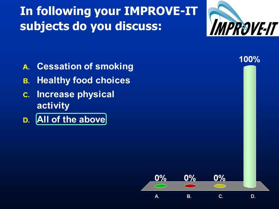 In following your IMPROVE-IT subjects do you discuss: A. A. Cessation of smoking B. B. Healthy food choices C. C. Increase physical activity D. D. All