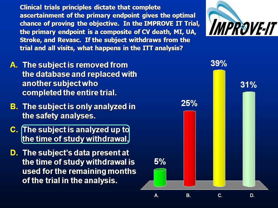 Clinical trials principles dictate that complete ascertainment of the primary endpoint gives the optimal chance of proving the objective. In the IMPRO