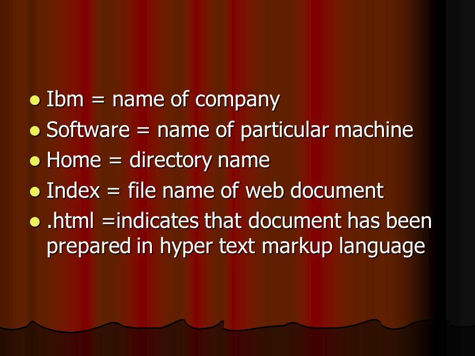Ibm = name of company Ibm = name of company Software = name of particular machine Software = name of particular machine Home = directory name Home = d