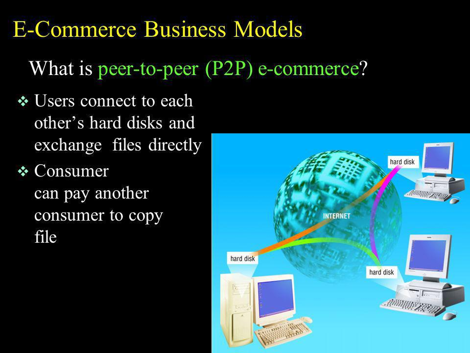 E-Commerce Business Models What is peer-to-peer (P2P) e-commerce? v Users connect to each others hard disks and exchange files directly v Consumer can