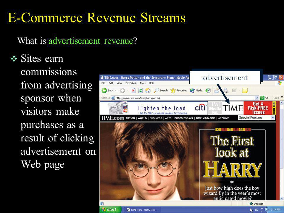 E-Commerce Revenue Streams What is advertisement revenue? v Sites earn commissions from advertising sponsor when visitors make purchases as a result o
